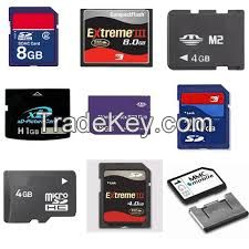 USB flash drive, SD memory cards Internal and external Hard Drives