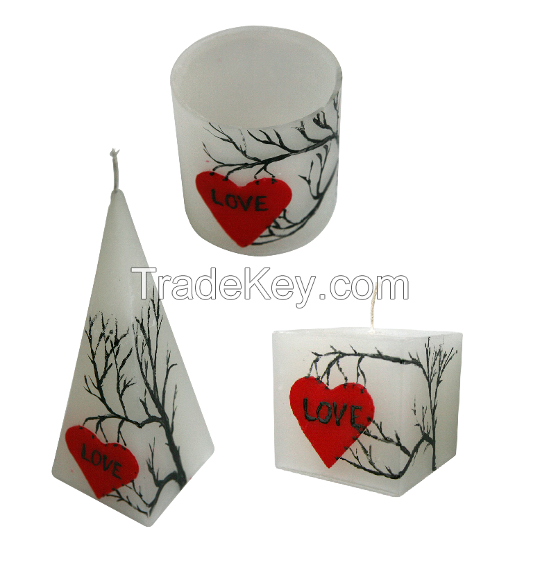 valentine's day hand painted candle