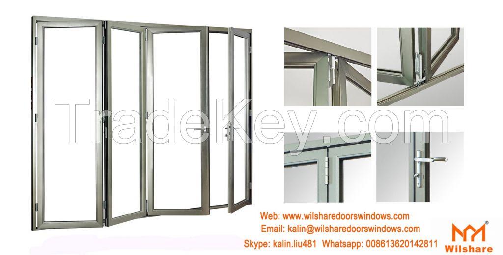 High Quality Aluminum Tempered Glass Sliding bifolding Door