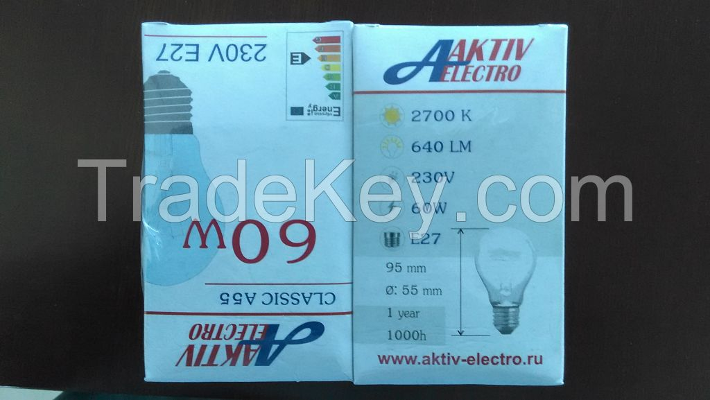 40/60/75/100w 110v/220v Incandescent Bulbs
