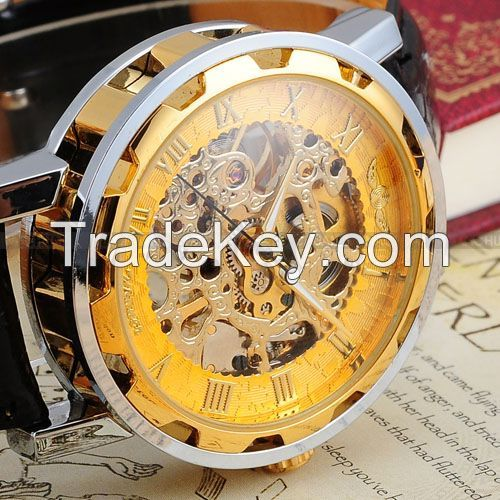 Classic Men's Gold Dial Skeleton Black Leather Mechanical Sport Army Wrist Watch