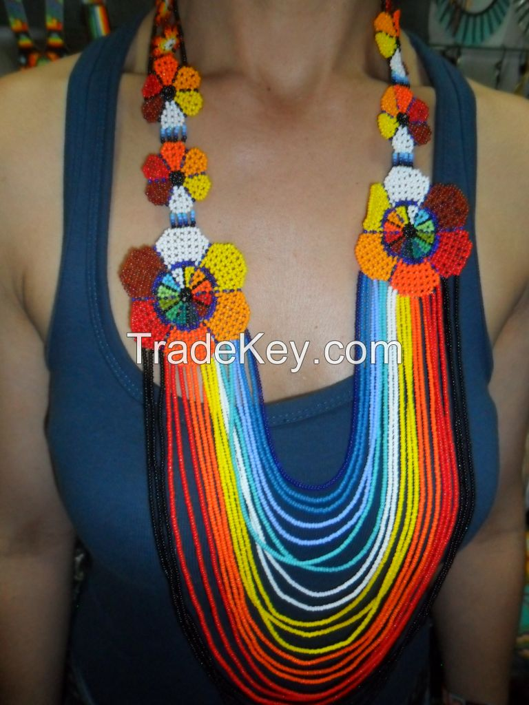 NATIVE INDIGENOUS BEADED NECKLACE COLOMBIA-SEEDS