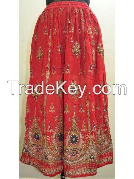 Indian Tribal Style Skirt White