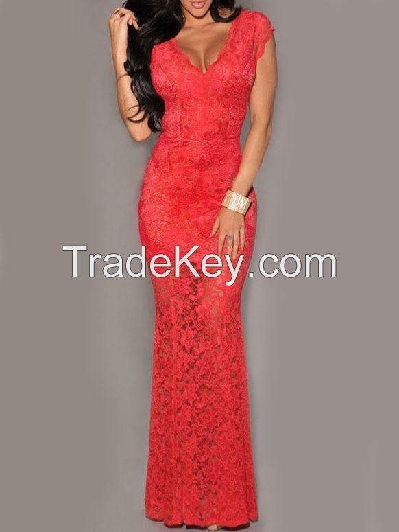 Red Deep V Neck Open Back Lace Dress