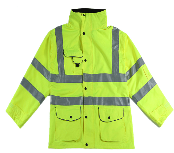 High visible waterproof workwear safety jacket with hood