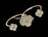 Gold CZ Flower Two Fin...