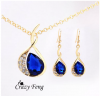 Women's Yellow Gold Plated Austrian Crystal Jewelry Sets Chain Necklace+Earrings