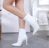 winter women high heel shoes rivet leather boots