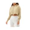customize women warm crew neck sweatshirt crop hoodie sleeve pullover fleece french terry cotton velour/velvet crop top