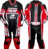 Red and Black Cowhide Leather Motorcycle Suit