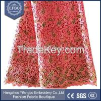 Super nice embroidered guipure african cord lace fabrics