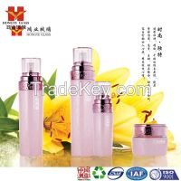 Luxury Packaging pink color empty cosmetic sets spray glass bottle with pump HY1614
