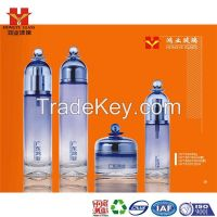 Fashion Packaging gradient blue color empty cosmetic sets spray glass bottle with pump HY1636