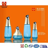 Luxury Packaging blue color empty cosmetic sets spray glass bottle with pump HY1554
