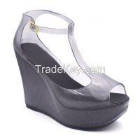 RMC T-strappy Platform Wedge Jelly Shoes