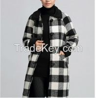 Vintage plaid jacket and long sections woolen coat