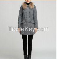 Long section raccoon fur collar hooded woolen coat