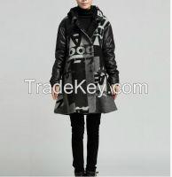 2015 European Grand Prix brand large size women's autumn Slim hooded long section woolen coat pocket