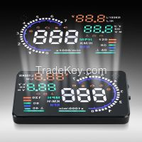 """A8 5.5"""" LED LCD Car HUD Head Up Display OBD2 Interface Fuel Overspeed Speed Warning"""