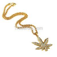 Hip hop bling bling the big size hemp leaf pendant necklace