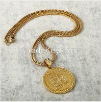 18K vacuum plating round shape diamante 50 fashion necklace hip hop jewelry pendant necklace