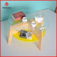 Round wooden tempered glass table