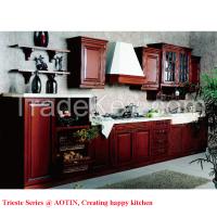 Luxury Cherry Wood Modular Single-Wall Kitchen Cabinets (AT-SW01)