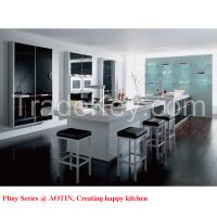 High Gloss Glass Kitchen Cabinet With Bar Island