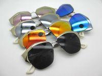 Irregular metal half-frame designer sunglasses