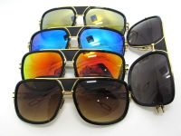 Acetate inlay metal designer aviator sunglasses