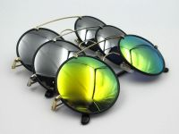 Retro Round Sunglasses flash lens for women
