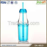 Hot new products for 2015 plastic drinking water bottle with straw