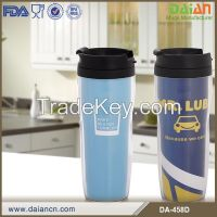 Promotional Double Wall plastic cup with screw on lid