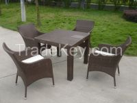 Garden furniture sets wicker 4 chairs and table for restaurant
