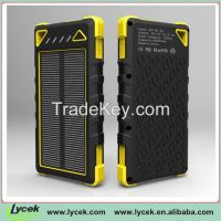 Superior quality 8000mah waterproof solar power bank, solar cellphone charger For iPhone