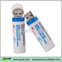 2 pcs USB Rechargeable Batteries 18650 3.7V usb battery with LED Lights