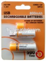 Durable 1.2v Ni-mh dry USB rechargeable Battery