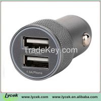2.4A&1A Dual USB Car Charger with led light for iPhone