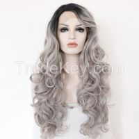 Synthetic Lace Front Wig Gray Ombre Dark Roots Wigs For Black Women
