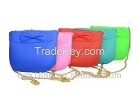 Fashion wholesale Bowknot Lady Silicone Shoulder Bag With Zipper