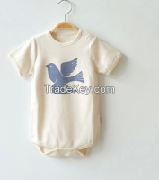 100% organic cotton baby onesie short sleeves certified by GOTS & OCS100