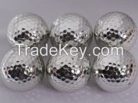 Silver metal golf ball