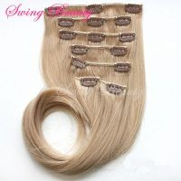 Clip-in Natural Blonde Curly Human Hair Extension