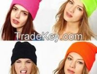 Promotional Winter Fashion Plain Solid Color Custom Wool Knitted Lady Beanie Hat