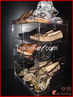 tiers acrylic shoes storage showcase