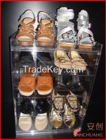 tiers acrylic shoes storage showcase
