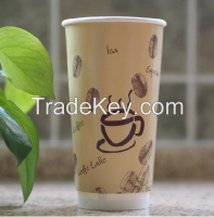20oz fancy disposable pe paper hot drink cups big volume take away coffee cups