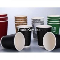 3oz-24oz one-off disposable ripple double wall disposable coffee cup take away paper cups