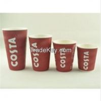 9oz food grade ripple disposable wall paper cup red color coffee cups custom logo