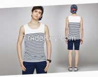 customized fashion yarn dyed tank top for men